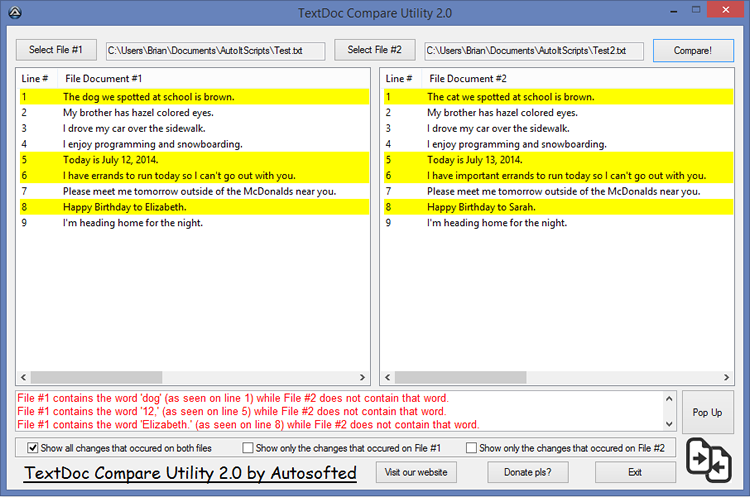 TextDoc Compare Utility Screen shot