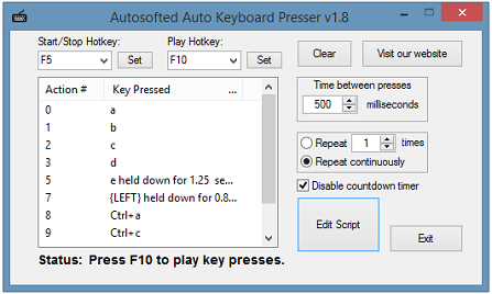 Auto Keyboard Presser: Free tool that automatically presses keys